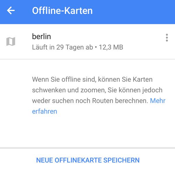 Google Maps Offline Karten