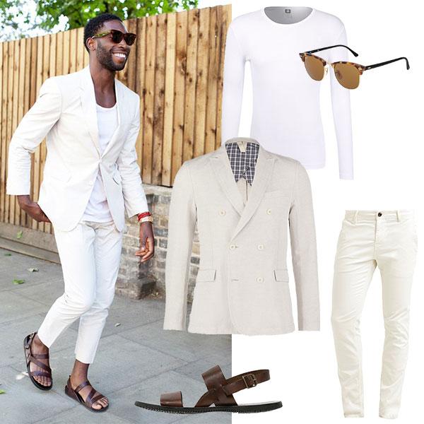 Looks für den Sommer Streetstyle für Männer in weiß