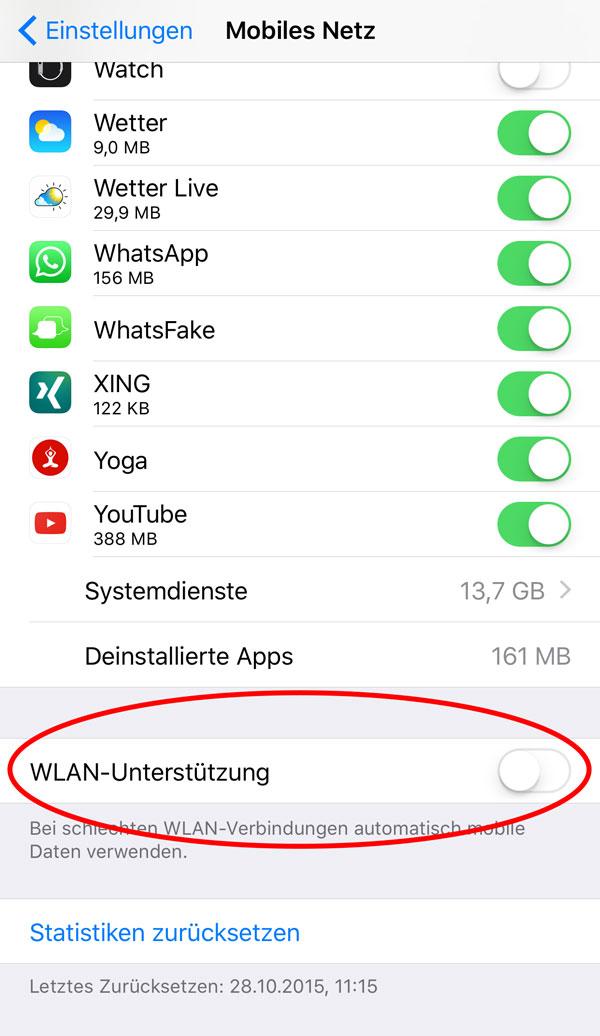 iPhone WLAN Unterstützung