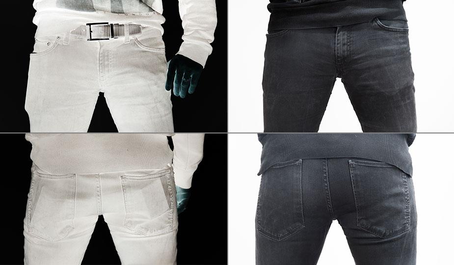 Männer Handtaschen gegen verbeulte Hosentaschen