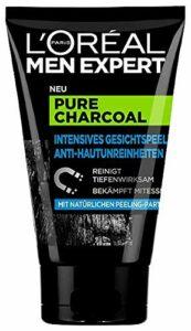 L'Oréal Men Expert Pure Charcoal Kohle, Gesichtspeeling gegen unreine, fettige und ölige Männerhaut und Mitesser Porenreiniger