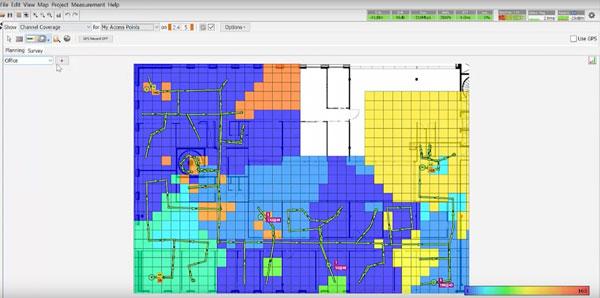 Heatmap von Ekahau visualisiert die Stärke des WLAN-Signals in deiner Wohnung.
