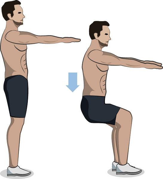 Kniebeugen ohne Gewicht - 15 Minuten Sport