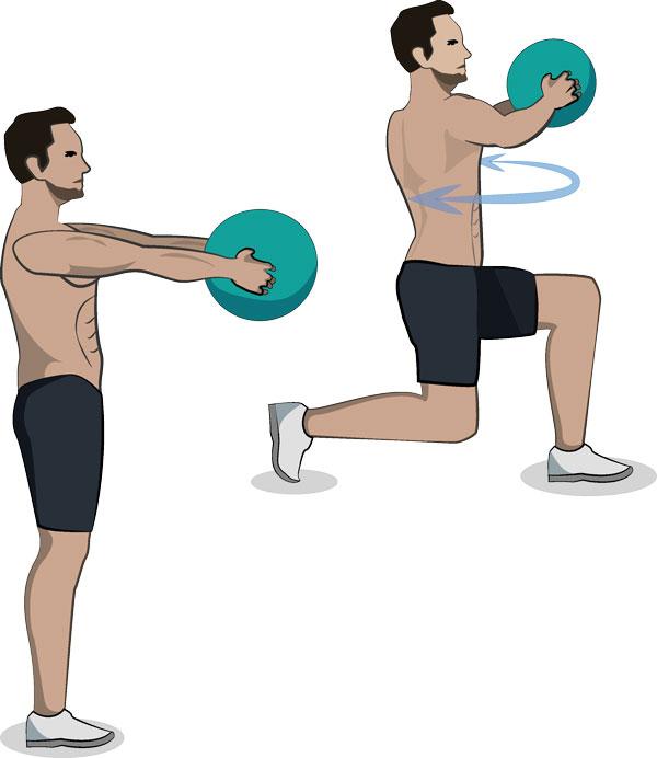 Kniebeuge mit Fronthub Medizinball