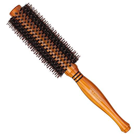 SUPRENT runde Haar-Bürste natürlichen Eber-Borsten & ergonomischem natürlichem Holz-Handgriff