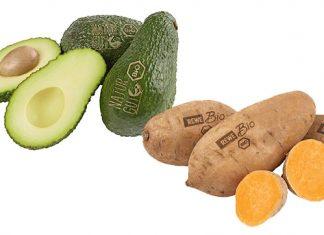 Süßkartoffeln und Avocados werden gelasert