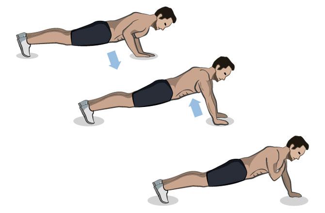 Liegestütz mit Schulterberührung