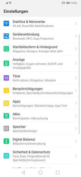 Android Einstellungen