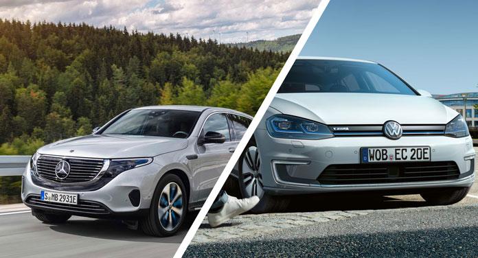 Mercedes und VW Elektroauto