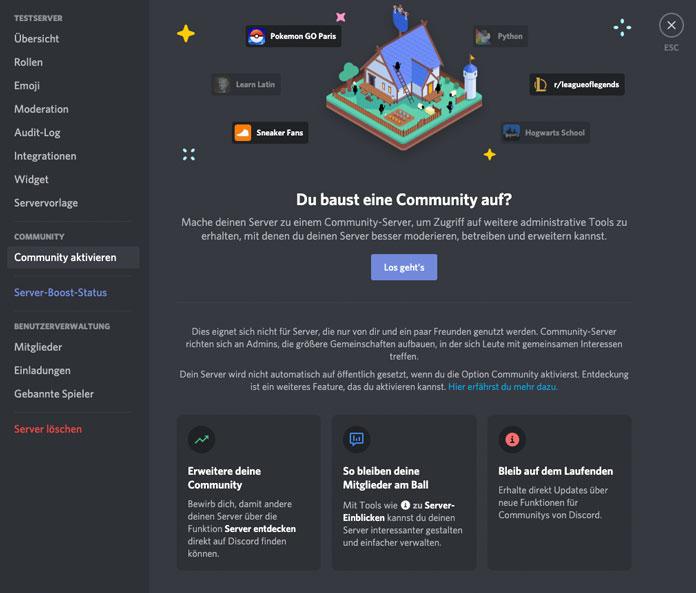 Community Server aktivieren