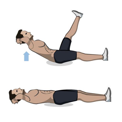 Beinscheren-Crunches
