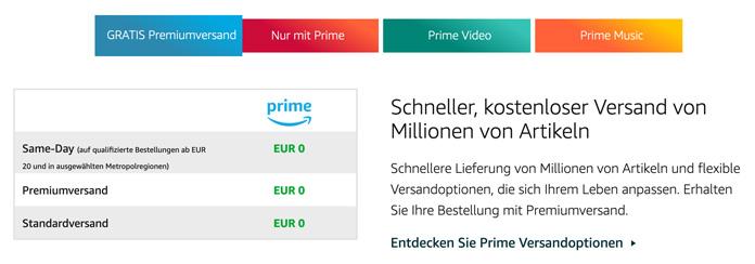 Gratis Versand mit Amazon Prime