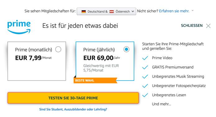 Amazon Prime Abo Jahresmitgliedschaft günstiger