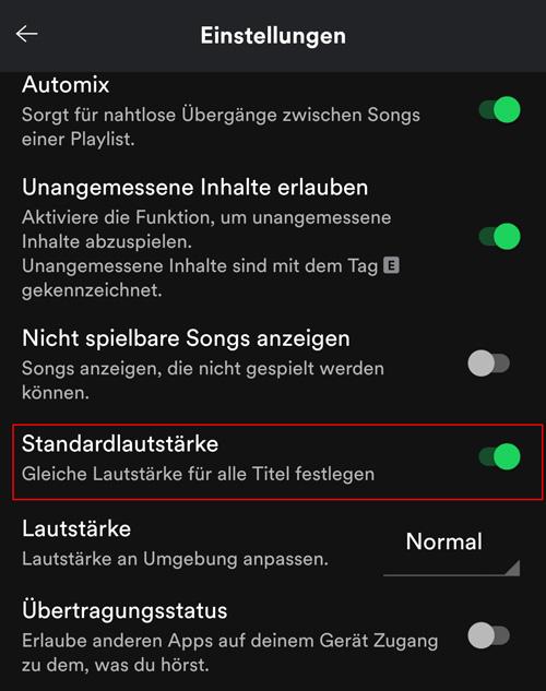 Soundqualität Standardlautstärke