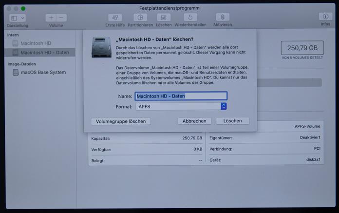 macOS Festplatte löschen