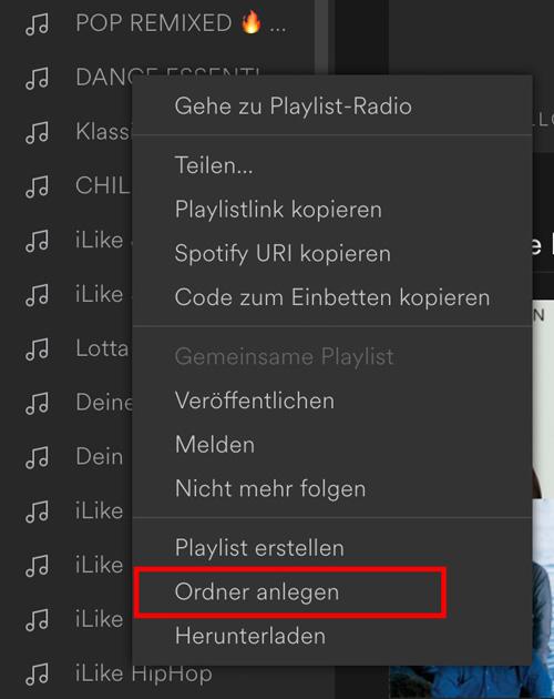 Spotify Ordner anlegen