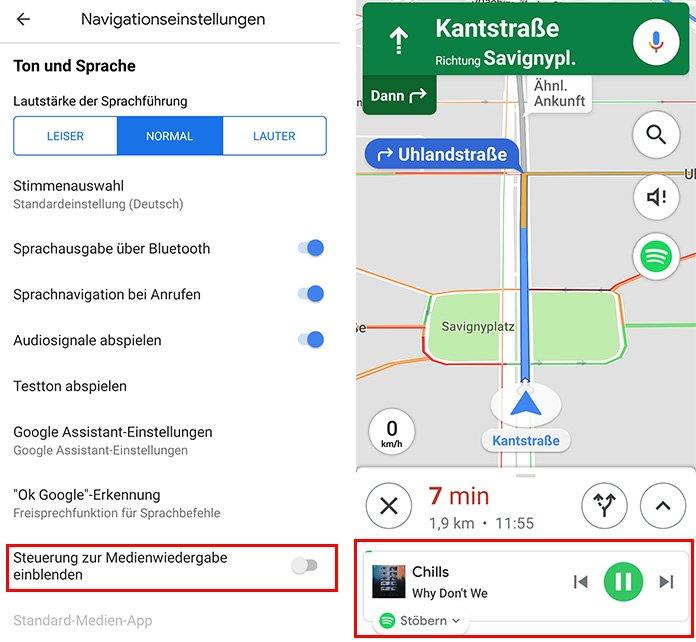 Google Maps mit Spotify verknüpfen