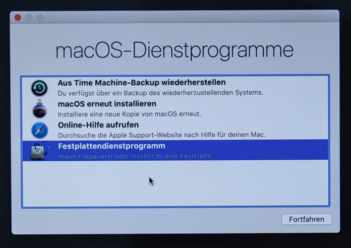macOS-Dienstprogramm-Fenster
