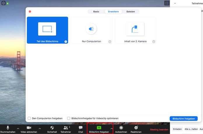 Zoom App Bildschirm freigeben
