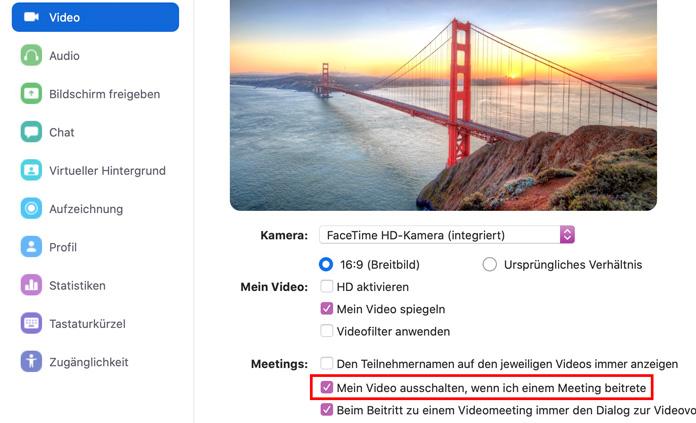 Zoom App Video ausschalten