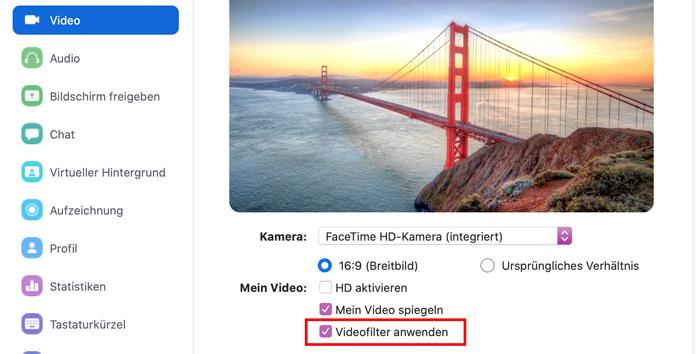 Zoom App Videofilter anwenden