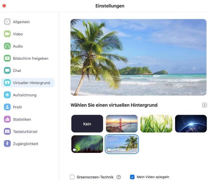 zoom App virtueller Hintergrund auswählen
