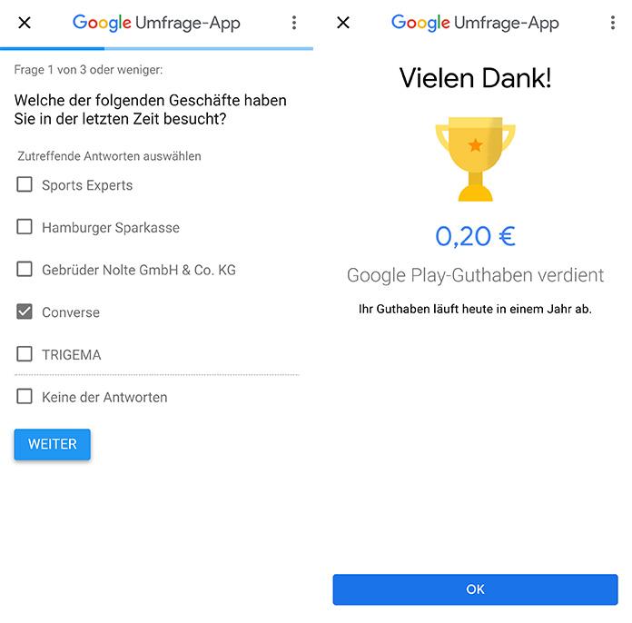 Google Umfrage App Geld verdienen