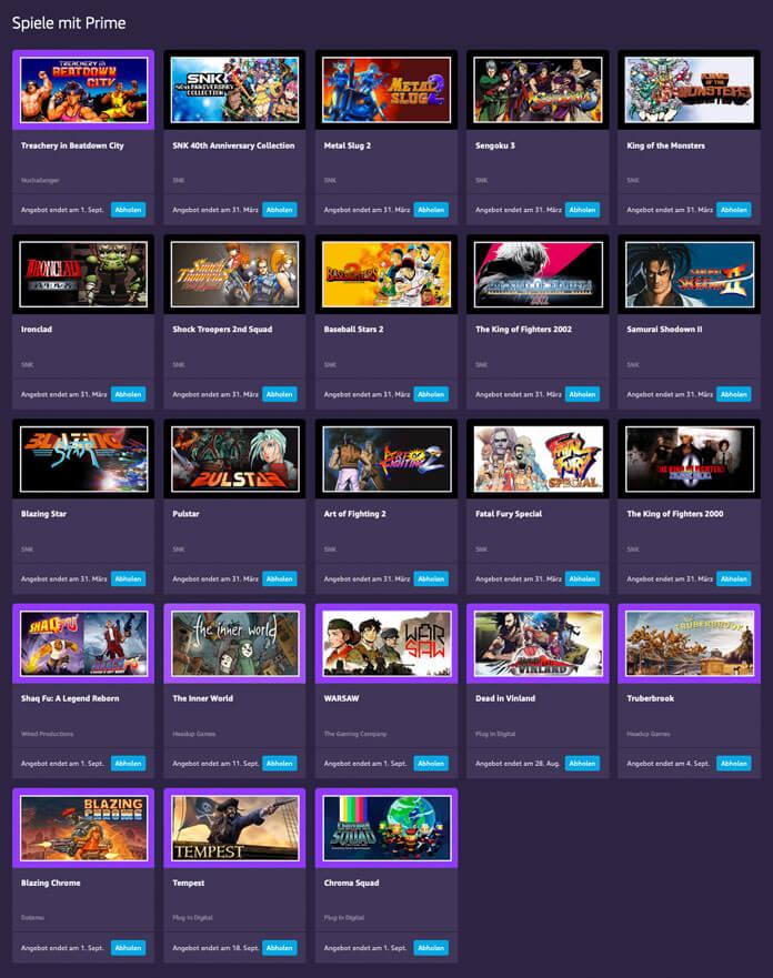 Prime Gaming Spielebibliothek