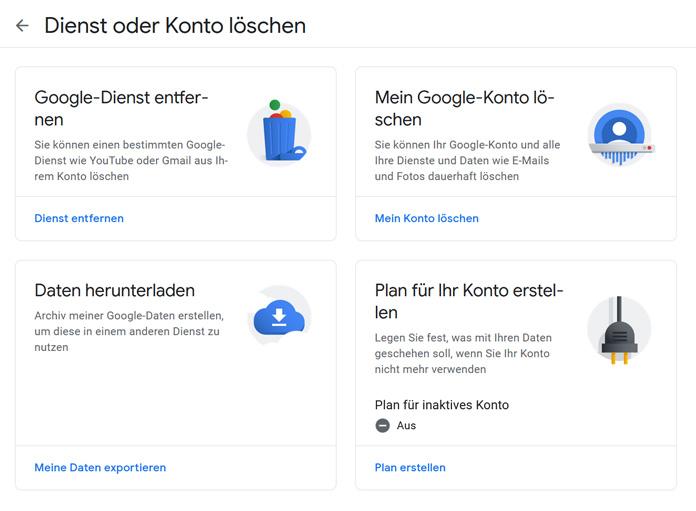 Google Mail Konto löschen