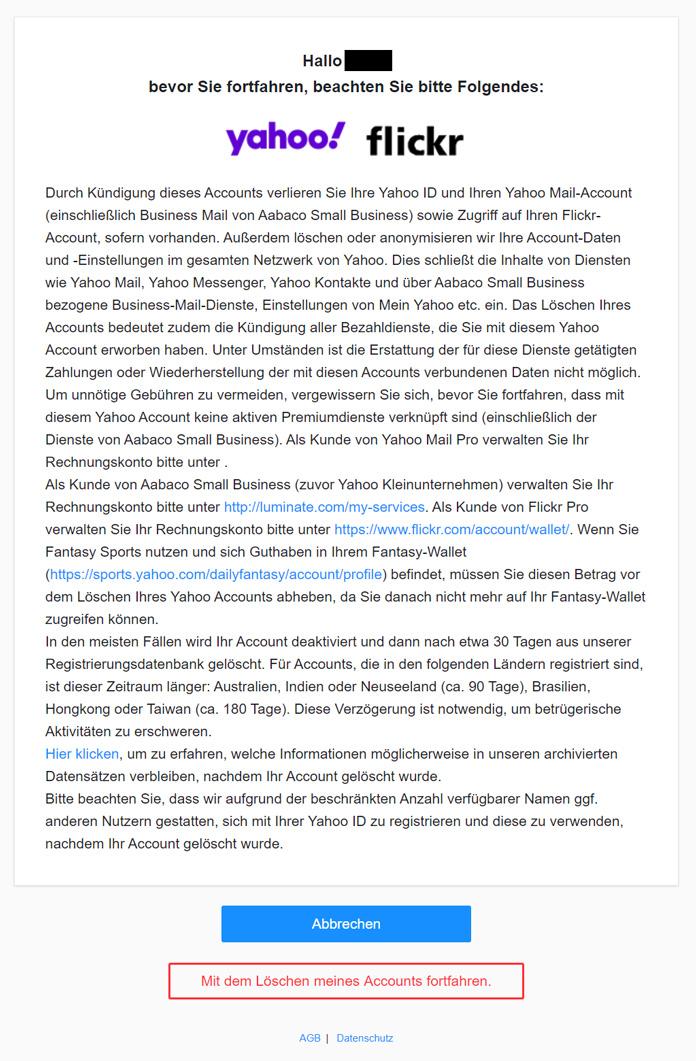 Yahoo E-Mail Adresse löschen