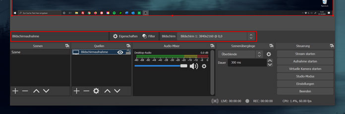 OBS Studio Version 26 Toolbar