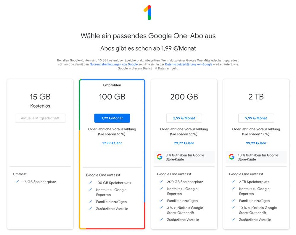Google One Abo-Modelle