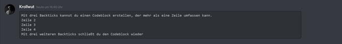 Codeblock geheime Discord-Tricks