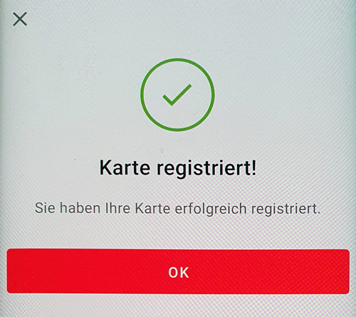 S-ID-Check Registrierung Karte registriert