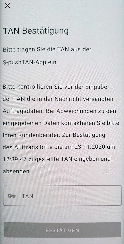 S-ID-Check Registrierung TAN Bestätigung