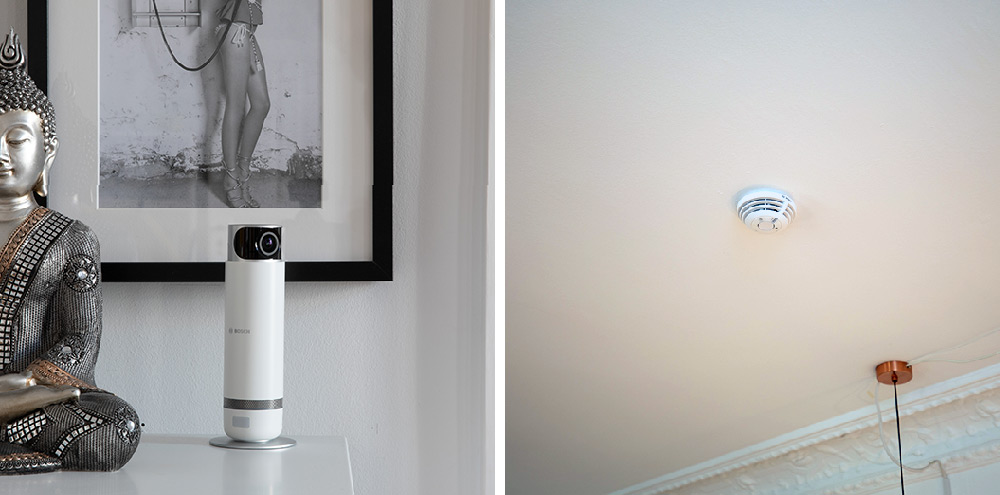 Die Bosch Smart Home Innenkamera und der Rauchwarnmelder im Einsatz