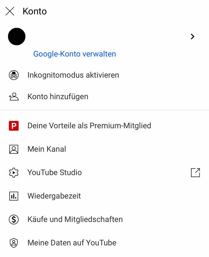 YouTube-Funktionen Inkognito