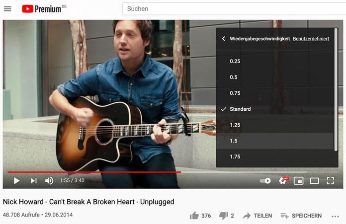 YouTube-Funktionen Video Tempo