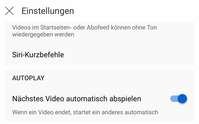 YouTube-Funktionen Autoplay ausschalten