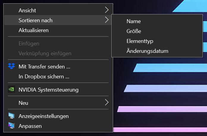 Desktop personalisieren sortieren