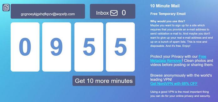 Nützliche Websites 10 Minute Mail