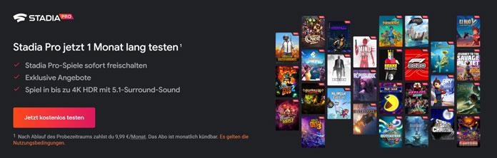 Stadia Gaming-Abo-Dienste