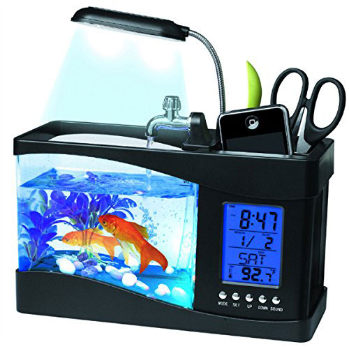 Pixnor USB-LCD-Display Desktop Aquarienfisch-Behälter-LED Lampe mit Kalender & Uhr - EUR 44,99