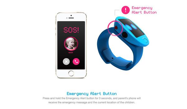 Die Cubi Smartwatch hat einen Alarm-Knopf, um bei Gefahr sofort die Eltern informieren zu können.