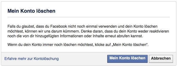 Facebook Account löschen