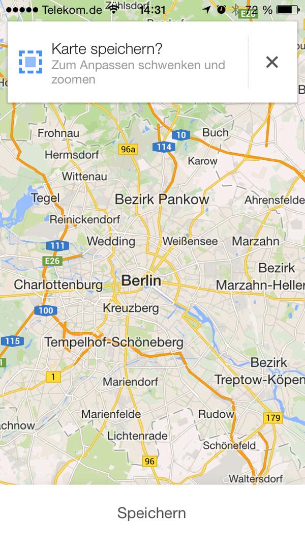 google maps karte speichern
