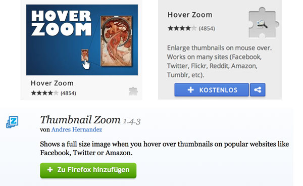 Hover Zoom & Thumbnail Zoom