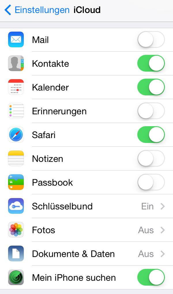 iCloud Einstellungen auf dem iPhone