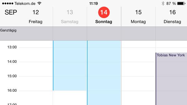 iPhone Kalender im Querformat