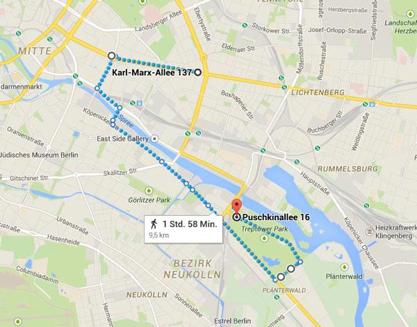 """Die geplante Strecke für den """"Zug der Liebe"""" durch Berlin"""